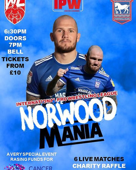 Ipswich Town FC star James Norwood will be taking part in a charity wrestling event for Cancer Resea