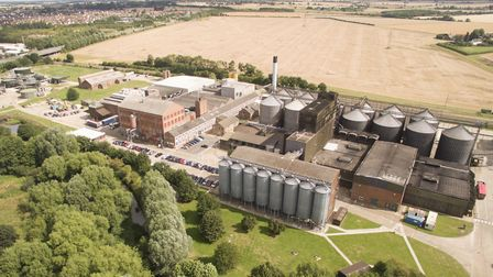 A drone shot of Muntons maltings factory, Stowmarket. Picture: MUNTONS
