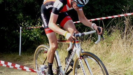 Colchester rider Cam Hurst climbs to victory in the Amis Velo cyclo-cross race. Picture: FERGUS MUIR