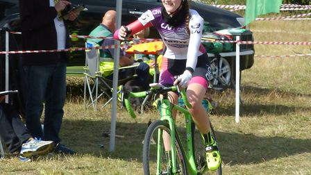 Lauren Higham takes the win in the Women's race at the Amis Velo cyclo-cross in Colchester. Picture: