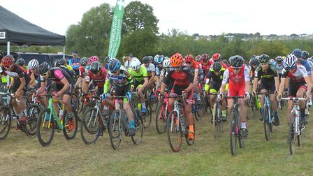 The start of the Senior and Junior Men's Race in the Amis Velo cyclo-cross. Picture: FERGUS MUIR