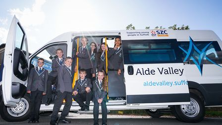 Alde Valley students with their new minibus Picture: TONY PICK
