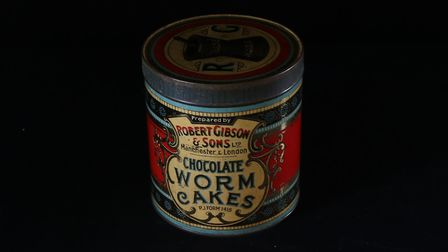 Tin of chocolate worm cakes at the Museum of East Anglian Life Picture: MUSEUM OF EAST ANGLIAN LIFE