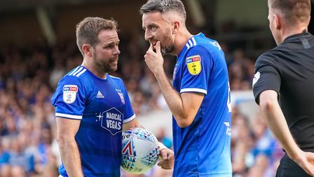Alan Judge and Cole Skuse discuss options ahead of a first half Town corner. Picture: Steve Walle