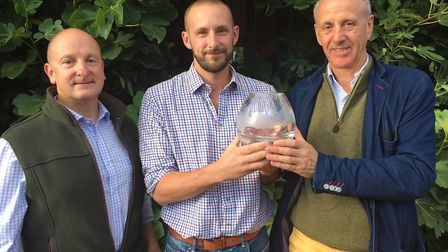 From left, Dr Rogert Draycott, GWCT's 2019 East Anglia Grey Partridge award winner Adam Steed and sp
