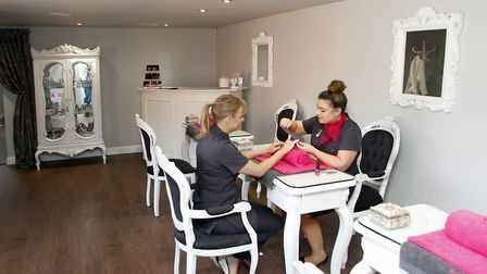 Award-winning Pink Shed beauty salon at Brantham, overlooking the River Stour. Natalie Wood with a c