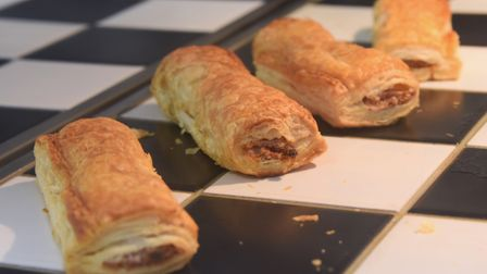 Hot sausage rolls in the Lake Avenue Bake & Bites café, coffee shop and bakery in Bury St Edmunds. P