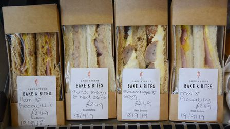 Sandwiches for sale in the Lake Avenue Bake & Bites café, coffee shop and bakery in Bury St Edmunds.