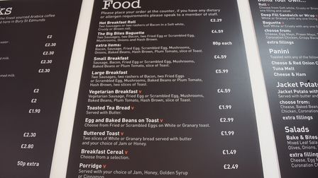 The menu in Lake Avenue Bake & Bites café, coffee shop and bakery in Bury St Edmunds. Picture: DENIS