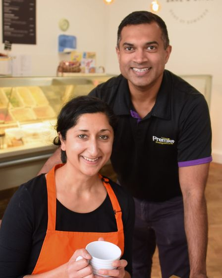 Arti, right, and Mash Odedra in their new venture, the Lake Avenue Bake & Bites café, coffee shop an