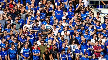 Town fans watch on during the Ipswich Town v Doncaster Rovers match. Picture: Steve Waller www