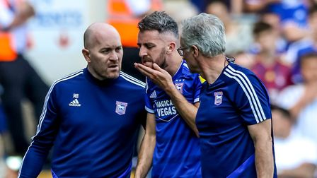 Cole Skuse feels his chin after taking a knock in the first half. Picture: Steve Waller www.st
