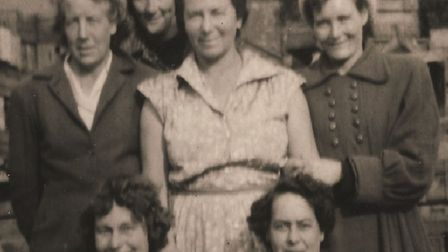 Devora Peake, centre, with ladies from Boxford who worked together in the 1950s at Hill Farm, Boxfor