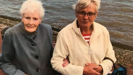 Phyllis and daughter Rhona opposite the Port of Felixstowe, during an outing to celebrate Phyllis�s