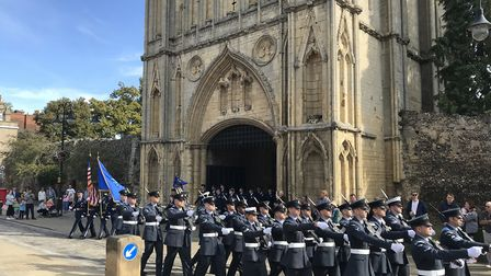 Parade of servicemen from RAF Honington and the voluntary band parading in Bury St Edmunds for Battl