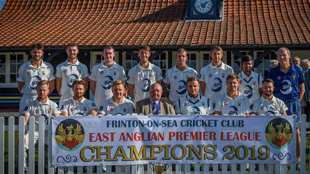 Frinton-on-Sea pictured with the East Anglian Premier League trophy, which they won for the first ti