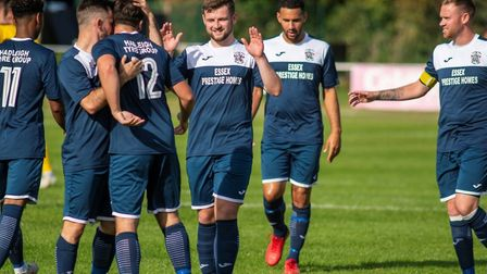 Hadleigh United celebrate going 3-1 up with a goal from Sam Sharp, against Haverhill Borough in the