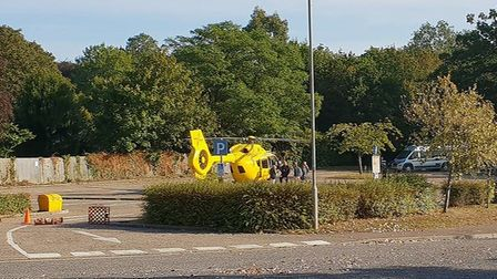 The air ambulance was called for a woman in her 70s who fell this morning. Photo: James Patrick