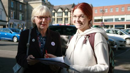 Natasha Brooks, right, signs the petition for nurse Heather Riggs Picture: MARK LANGFORD