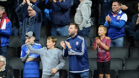 Town fans cheering the team on at Stadium MK Picture Pagepix
