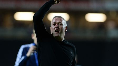 Ipswich Town manager Paul Lambert enjoys Tuesday night's 1-0 win at MK Dons. Photo: Pagepix