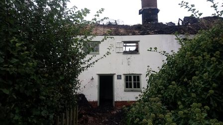Two cottages in Blaxhall were engulfed by the fire Picture: ARCHANT