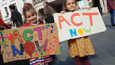 Global Climate Strike protests on the Cornhill in Ipswich. PICTURE: RACHEL EDGE