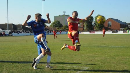 Action from Needham's defeat at Lowestoft on Saturday Photo: BEN POOLEY