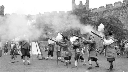 A spectacular display during the living history event in 1987 at Framlingham Castle Picture: JOHN KE