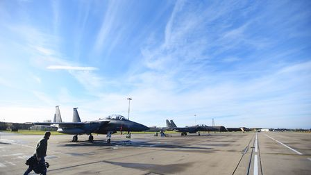 RAF Lakenheath. There will be limited night-flying operations from the base early next month. Pictur
