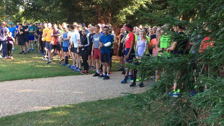 Runners congregate for the start of the 492nd Milton Keynes parkrun, which had a field of 631 on Sat