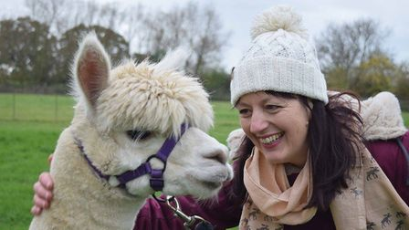 Clothing entrepreneur Jo Salter of Where Does It Come From? clothes, and an alpaca hat, and an alpac