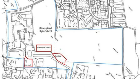 The location of the proposed new sixth form centre at Stowupland High School. Picture: CONCERTUS DES