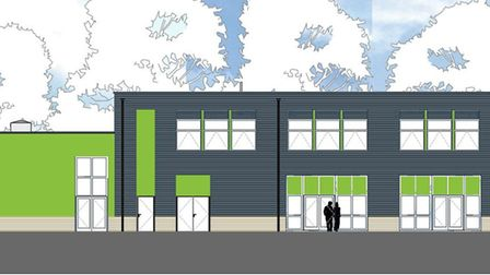 The sideview of plans for a new sixth form centre at Stowupland High School. Picture: CONCERTUS DESI