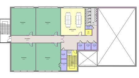 The floor plan of the first floor of the proposed new sixth form centre at Stowupland High School. P