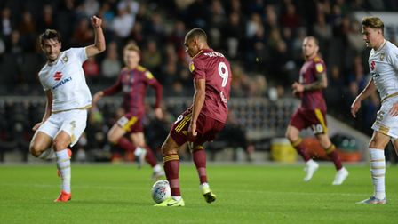 Kayden Jackson is denied by the keeper during the first half at Stadium MK Picture Pagepix