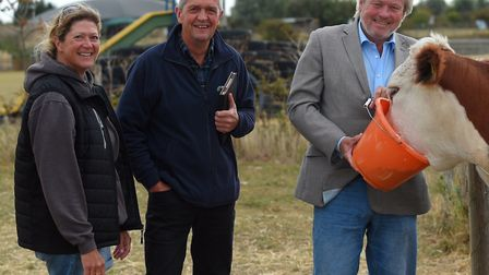 Clacton MP Giles Watling, right, visits National Farmers' Union (NFU) deputy president Guy Smith and