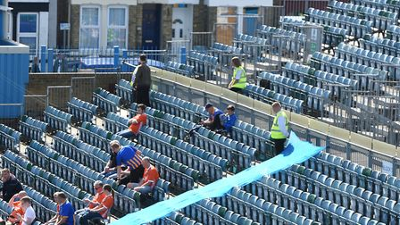 A bit exposed: general view of uncovered seating at Priestfield Stadium. Picture: PA