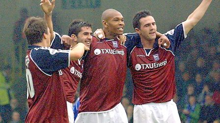Goalscorer Marcus Bent (third left) celebrates with Martyn Reuser, Pablo Counago and Tommy Miller at