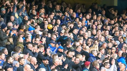 The ball ends up among the crowd during Ipswich Town's Sky Bet Championship match with Preston North