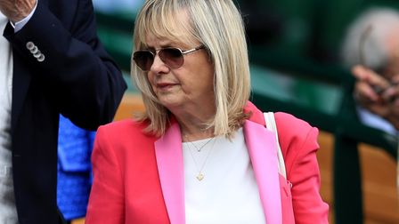 Dame Twiggy Lawson in the royal box on day nine of the Wimbledon Championships at the All England La