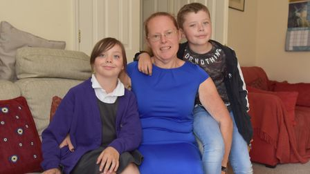 Lynn Parker from Stowmarket with grandchildren Ruby and Harley. Picture: SONYA DUNCAN