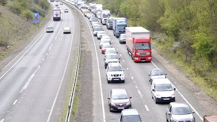 A car has rolled on the A14 at Stowmarket blocking one lane. Picture: ARCHANT LIBRARY