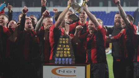 Achilles celebrate winning the Suffolk Senior Cup final at Portman Road Picture: ROSS HALLS