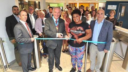 Official opening of Leiston Leisure Centre - left to right, Andy Jarvis, Colin Hedgley, Andrea Thomp