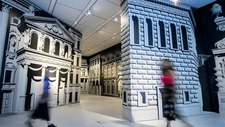 """Another picture of """"London In Its Original Splendour"""" by Pablo Bronstein at the London Mithraeum Blo"""