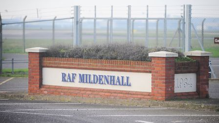 A cordon is in place at RAF Mildenhall while security forces personnel respond to an incident Pictur