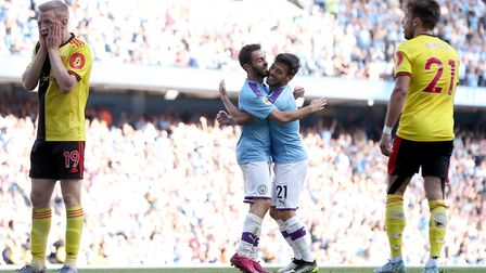 Manchester City beat Watford 8-0 yesterday, Picture: PA