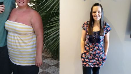 Kelly Canning before and after her weight loss transformation. Picture: KELLY CANNING