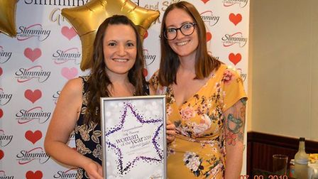 Kelly Canning pictured with her Slimming World Consultant Sarah Pearsons. Picture: KELLY CANNING
